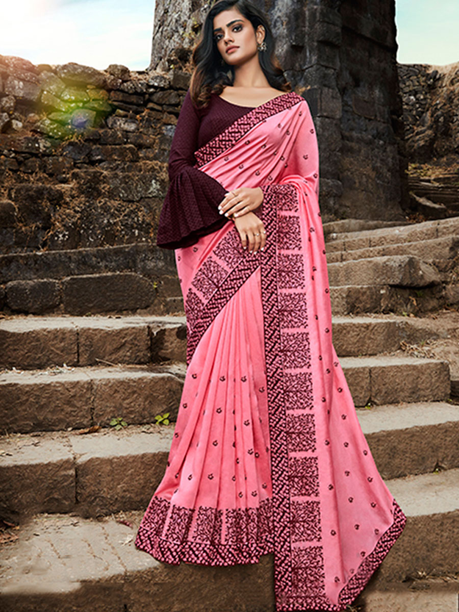 Salmon Pink Silk Embroidered Party Saree
