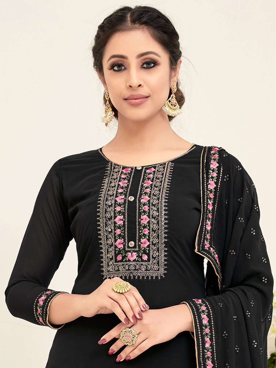 Black Faux Georgette Embroidered Festival Palazzo Pant Kameez
