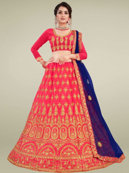 Carmine Pink Satin Silk Embroidered Wedding Lehenga Choli