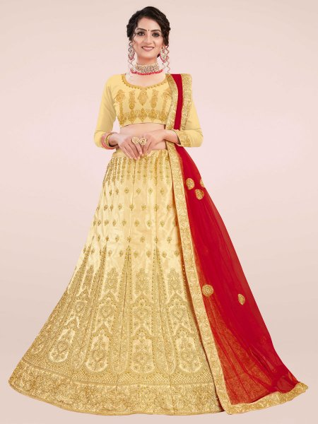 Beige Yellow Satin Silk Embroidered Wedding Lehenga Choli