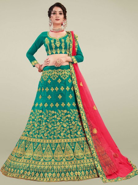 Pine Green Satin Silk Embroidered Wedding Lehenga Choli