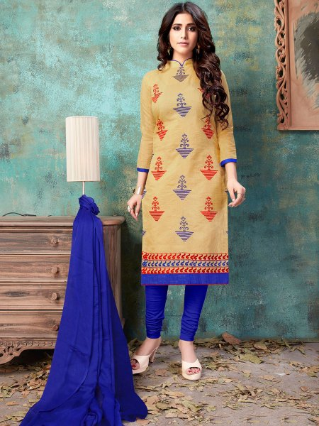 Beige Yellow Chanderi Silk Embroidered Party Churidar Pant Kameez