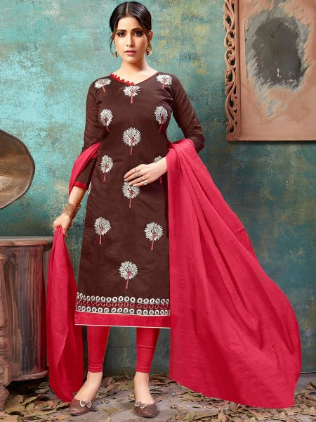 Auburn Brown Chanderi Silk Embroidered Party Churidar Pant Kameez