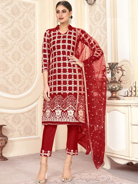 Maroon Net Embroidered Festival Pant Kameez