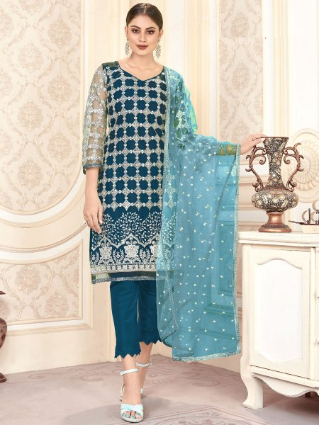 Teal Blue Net Embroidered Festival Pant Kameez
