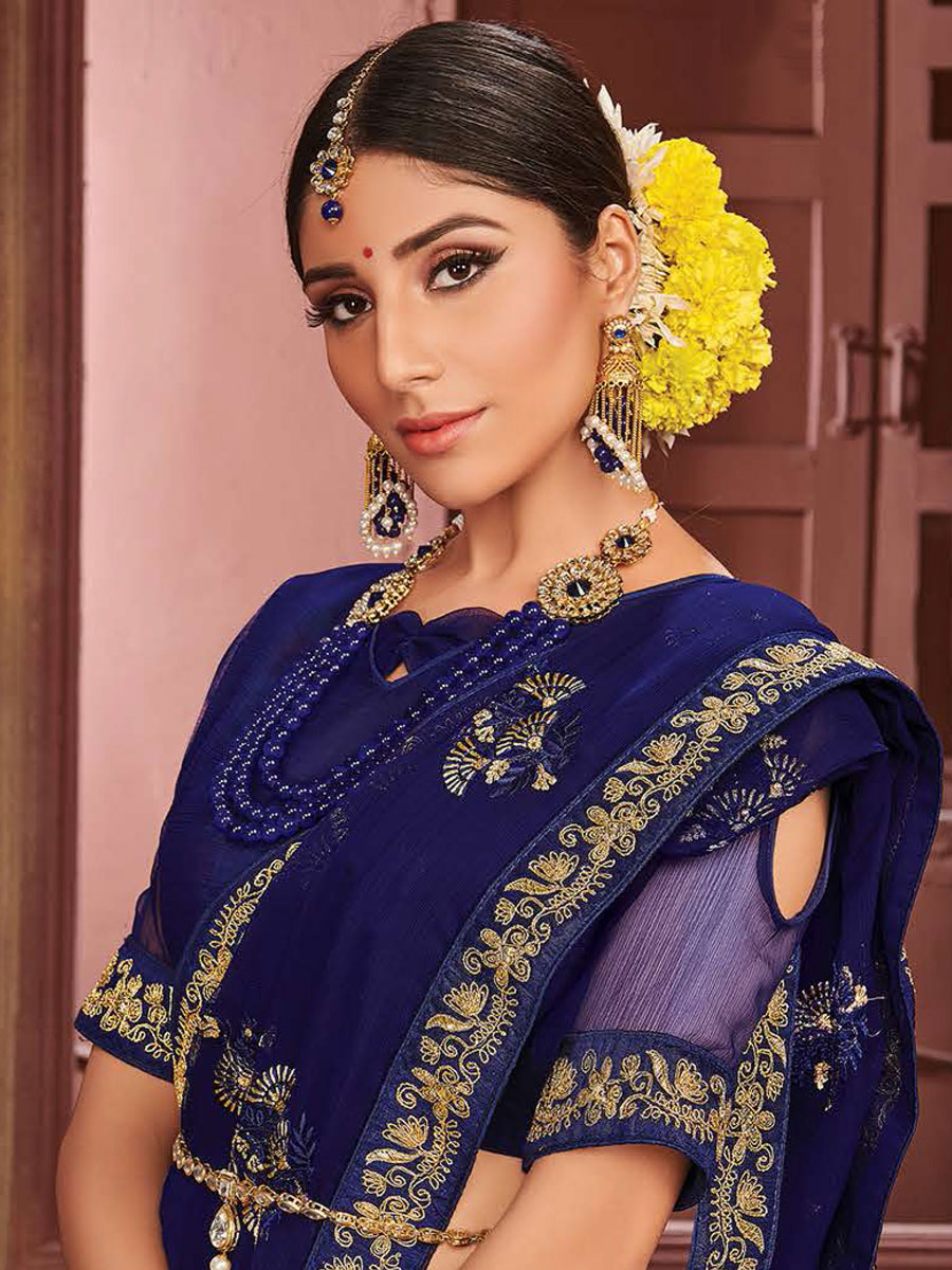 Navy Blue Chiffon Embroidered Festival Saree