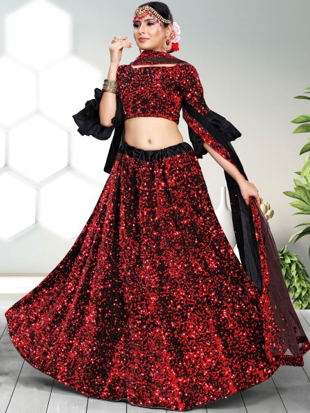 Rose Madder Red  and Black Velvet Embroidered Party Lehenga