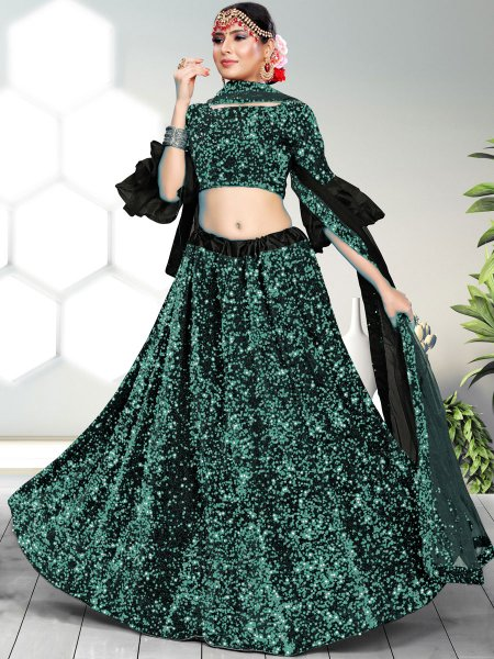 Jungle Green and Black Velvet Embroidered Party Lehenga