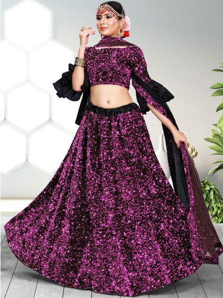 Magenta Pink and Black Velvet Embroidered Party Lehenga