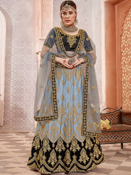 Light Gray Satin Silk Embroidered Wedding Lehenga Choli