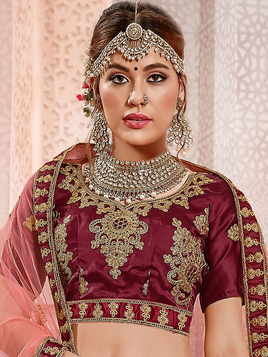 Coral Pink Satin Silk Embroidered Wedding Lehenga Choli