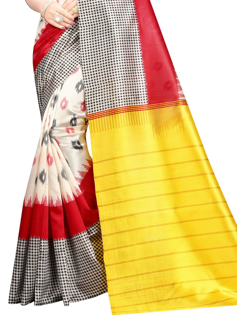 Off-White and Maize Yellow Raw Silk Printed Party Saree