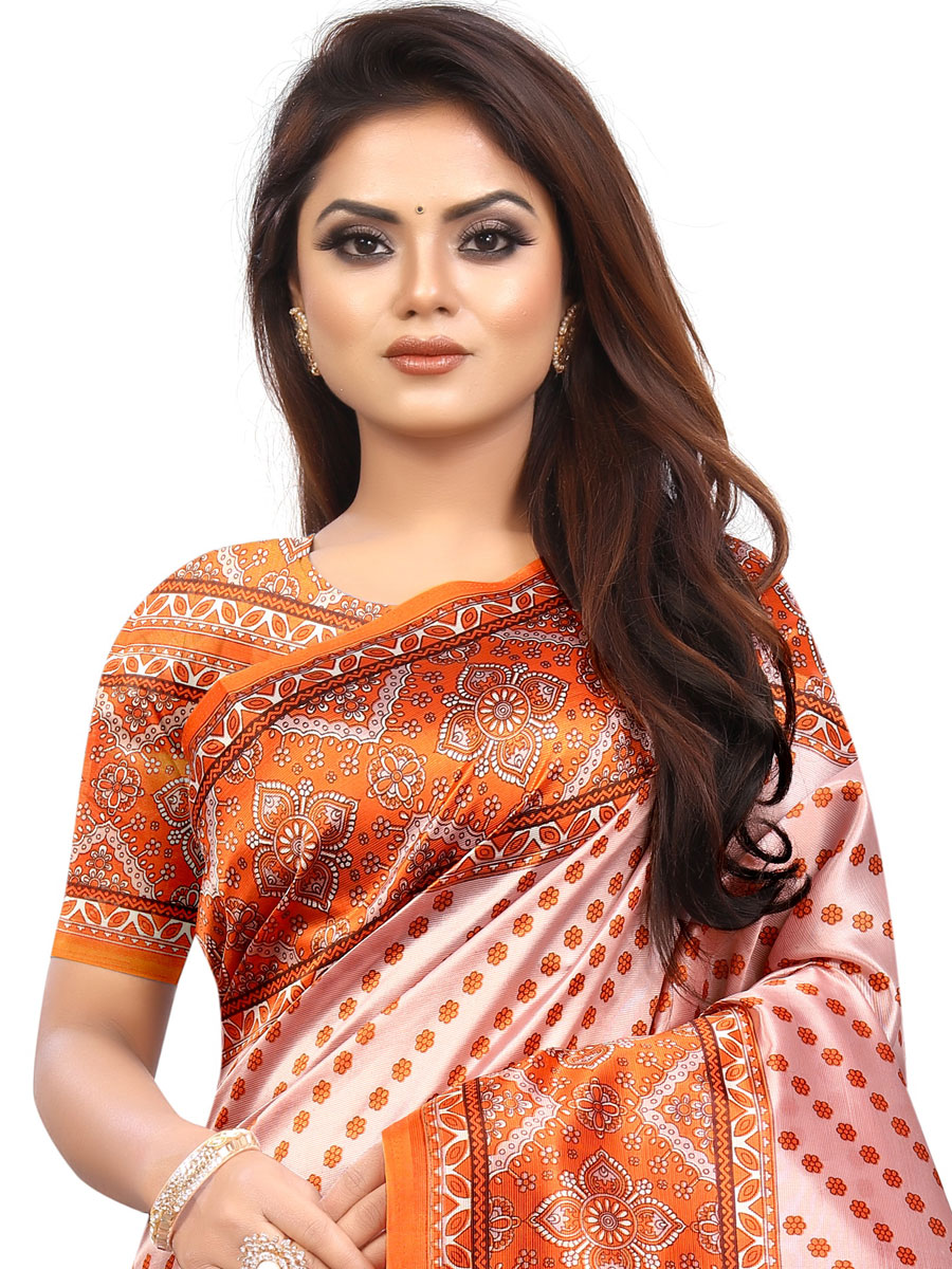 Pumpkin Orange and Off-Whte Raw Silk Printed Party Saree