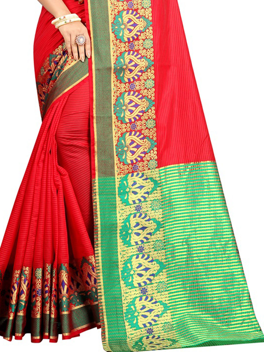 Rose Madder Red Cotton Handwoven Festival Saree