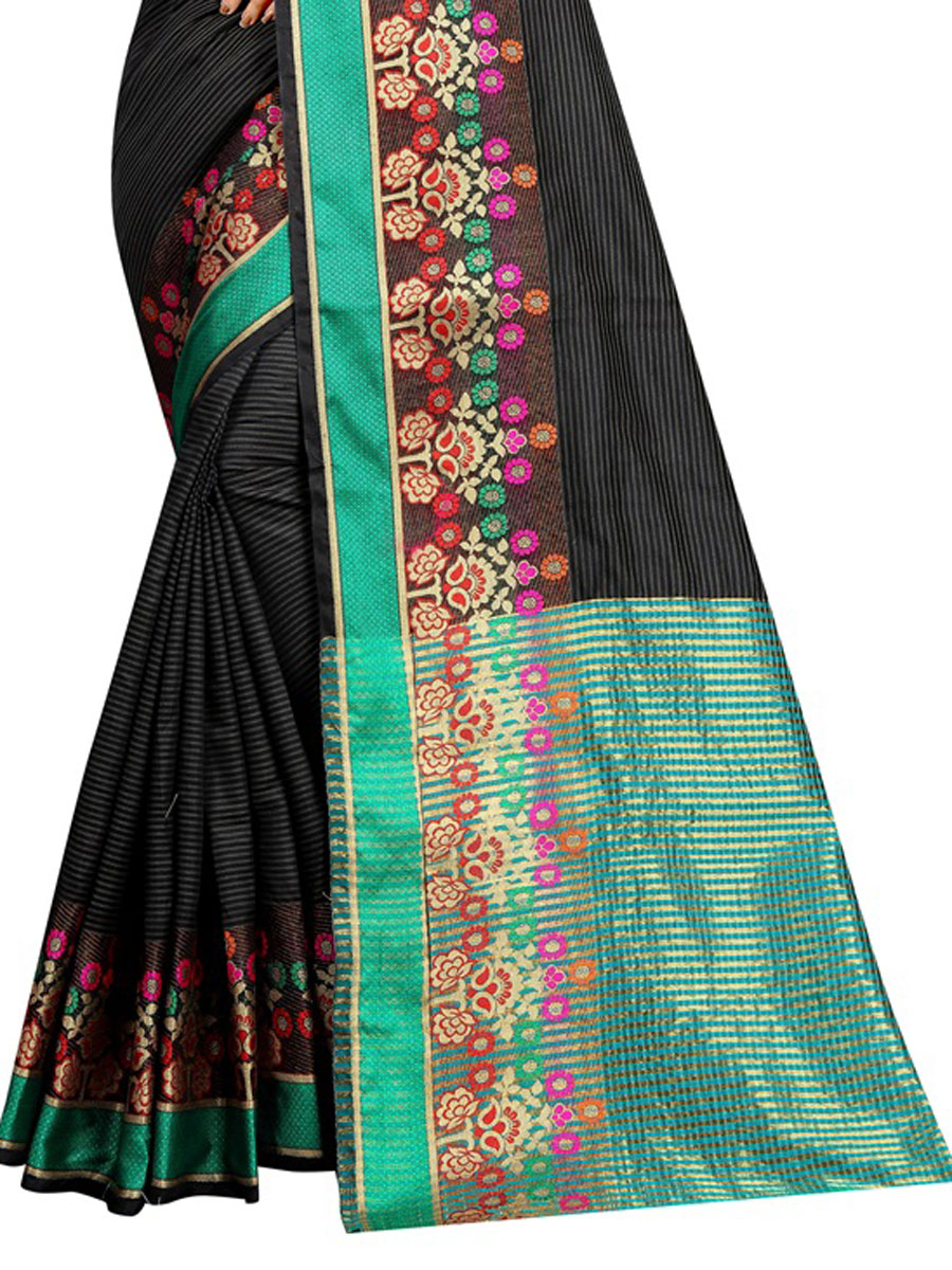 Black Cotton Handwoven Festival Saree