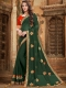 Hunter Green Faux Georgette Embroidered Party Saree