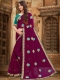 Wine Red Faux Georgette Embroidered Party Saree