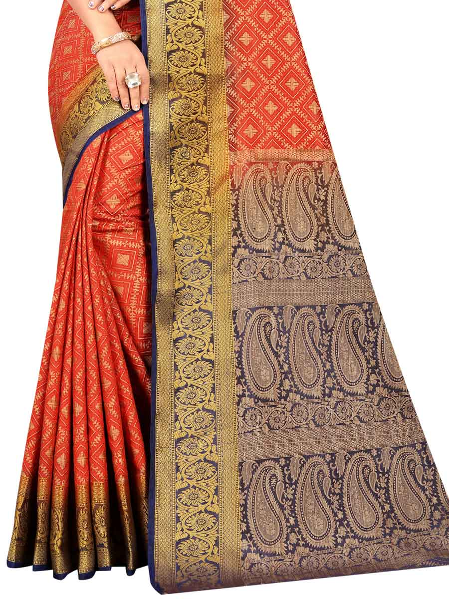 Vermilion Red Silk Handwoven Festival Saree