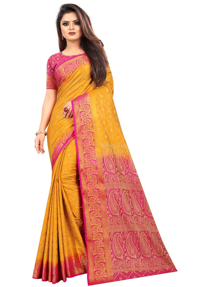 Mustard Yellow Silk Handwoven Festival Saree