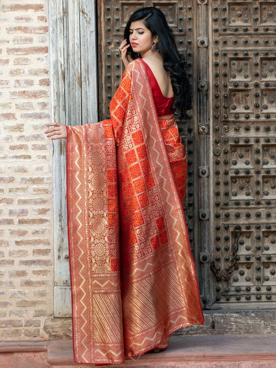 Rose Madder Red and Pumpkin Orange Banarasi Silk Handwoven Festival Saree