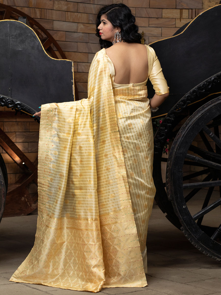 Cream Yellow Banarasi Silk Handwoven Festival Saree