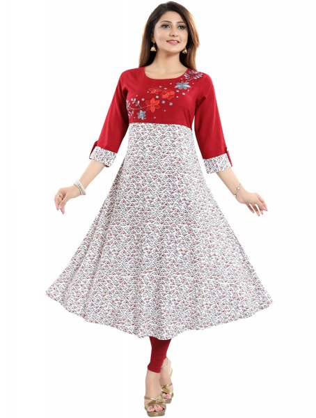 Rose Madder Red and Off-White Rayon Embroidered Party Kurti