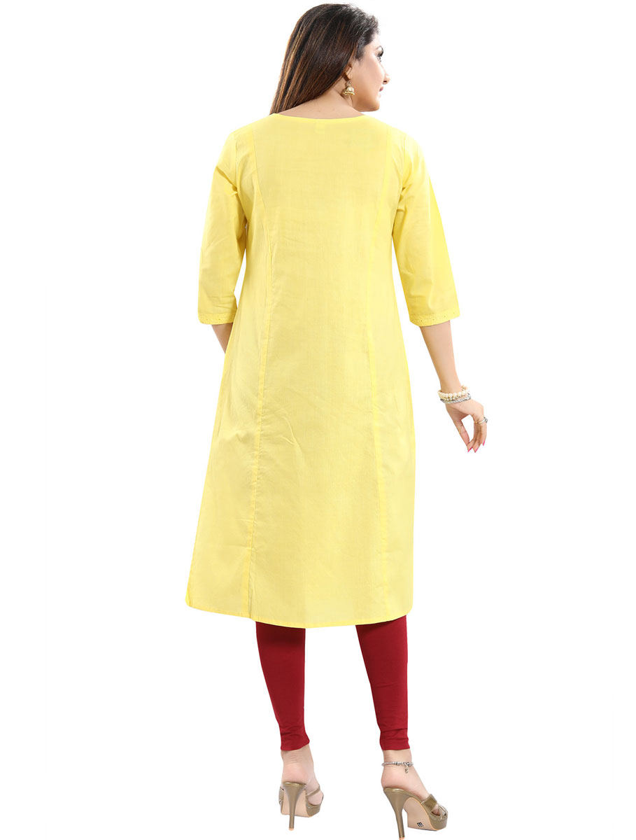 Maize Yellow Cotton Embroidered Party Kurti