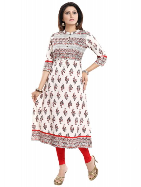 Off-White Cotton Embroidered Party Kurti