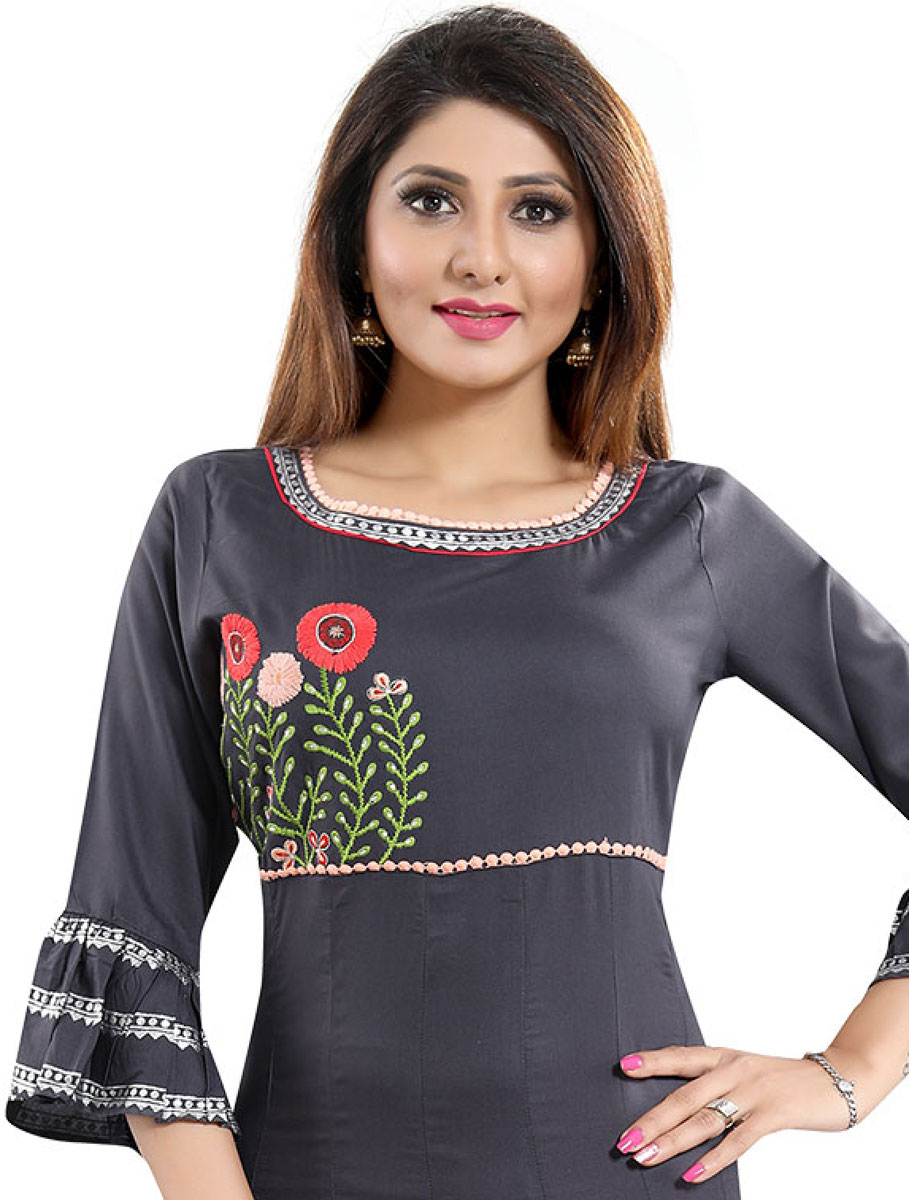 Gray Rayon Embroidered Party Kurti