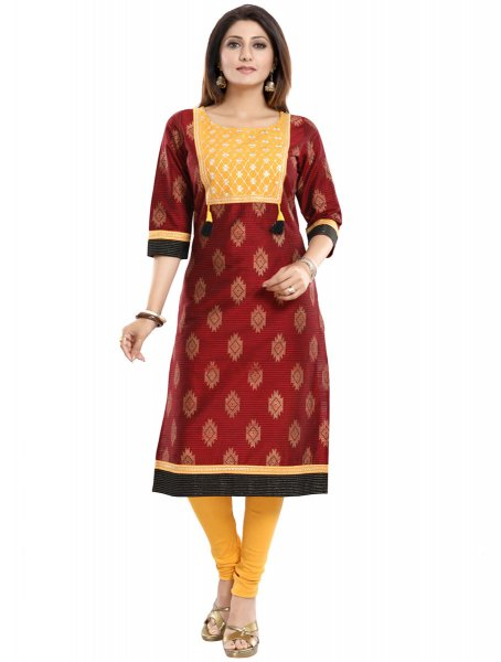 Maroon Raw Silk Embroidered Party Kurti