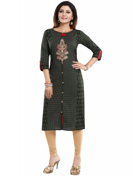 Hunter Green Cotton Embroidered Party Kurti
