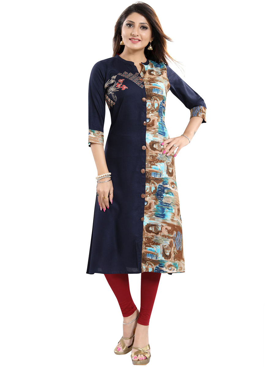 Navy Blue Rayon Embroidered Party Kurti