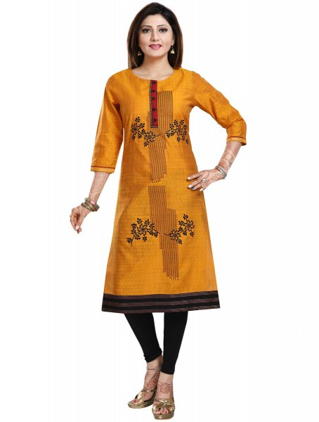 Mustard Yellow Art Silk Embroidered Party Kurti