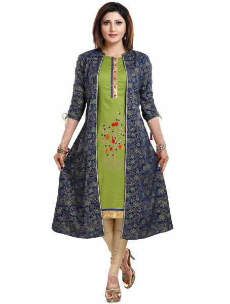Parrot Green and Navy Blue Rayon Embroidered Party Kurti