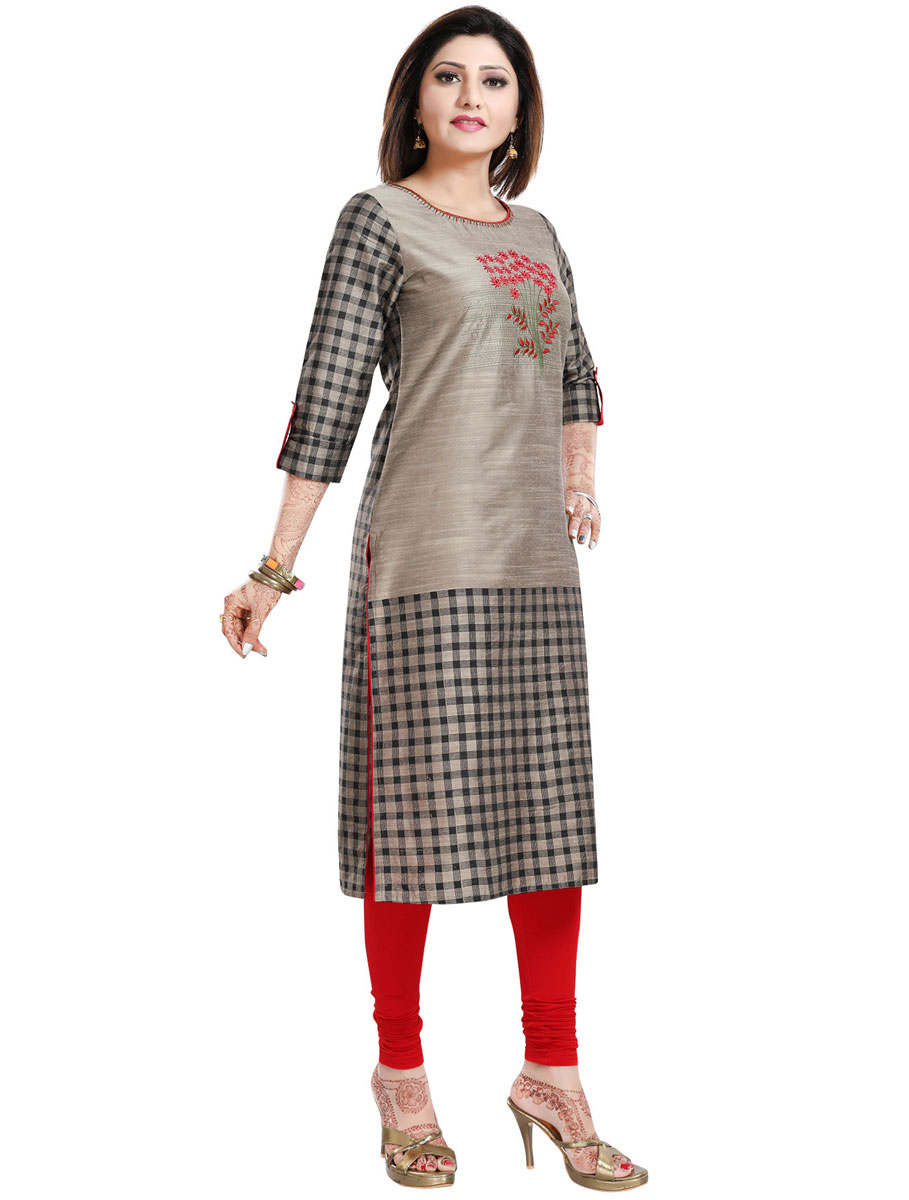 Gray Raw Silk Embroidered Party Kurti