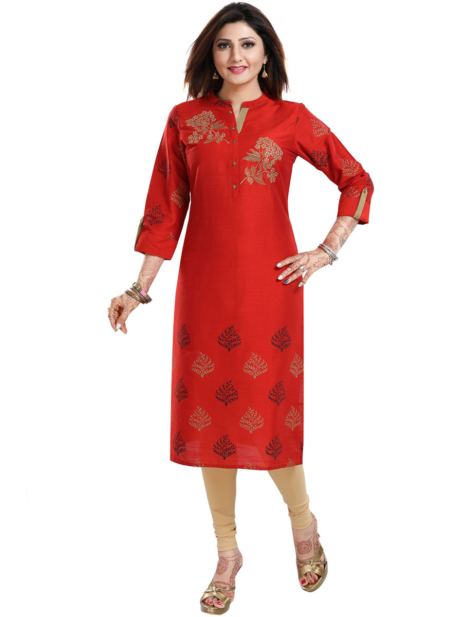 Rose Madder Red Raw Silk Embroidered Party Kurti
