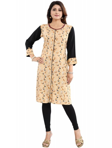 Beige Yellow and Black Rayon Printed Party Kurti