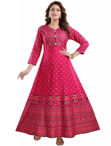 Cerise Pink Rayon Printed Party Kurti