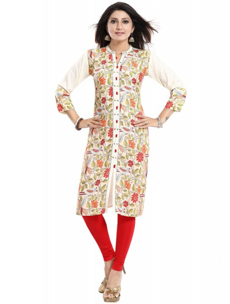 Off-White Rayon Printed Party Kurti