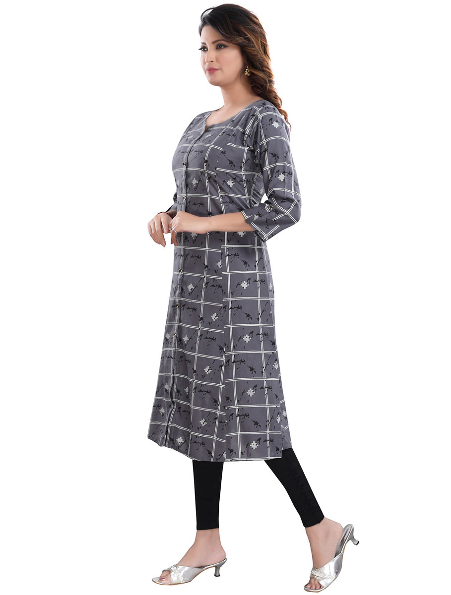 Gray Rayon Printed Party Kurti